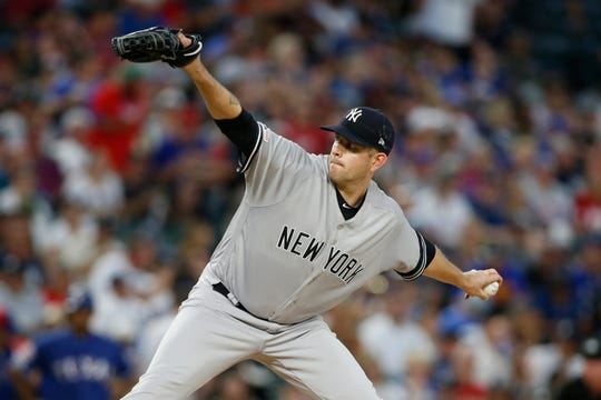 Sep 27, 2019; Arlington, TX, USA; New York Yankees starting pitcher James Paxton (65) throws a pitch in the first inning against the Texas Rangers  at Globe Life Park in Arlington. Mandatory Credit: Tim Heitman-USA TODAY Sports