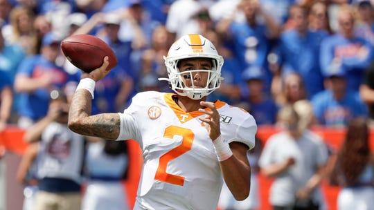 Tennessee quarterback Jarrett Guarantano throws a pass against Florida during the first half of an NCAA college football game, Saturday, Sept. 21, 2019, in Gainesville, Fla.