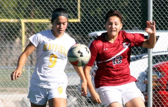 Junior Lady 'Cats defender Alissa Cordova (13) pushed the ball up to the midfield consistently on Saturday won her share of free balls on Saturday.