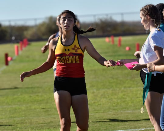Centennial's Jessica Rios took first place at this weekend's cross-country meet held at Oñate.