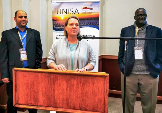 From left, Abdessattar Abdelkefi, New Mexico State University assistant professor in the Department of Mechanical and Aerospace Engineering, Lueta De Kock, from the University of South Africa, and Mamadou Diallo, from the California Institute of Technology, were co-chairs of the U.S.-Africa Forum on Nanotechnology Convergence for Sustainable Energy, Water and Environment.