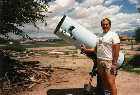 Alan Hale, in about 1990 standing next to his telescope in Las Cruces during his grad school days earning his Ph.D. in astronomy at New Mexico State University.