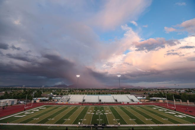 The Field of Dreams stadium is evacuated due to lightning strikes in the area on Friday, Sept. 27, 2019.