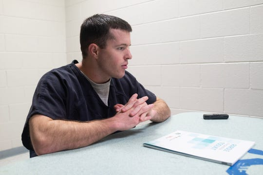 John Gamble sits for an interview at the Lea County Correctional Facility in Hobbs, NM.