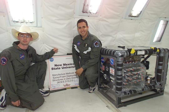 From left: James Childress and Omar Mireles were members of the first team from New Mexico selected to fly an experiment aboard the KC-135 as part of the NASA Microgravity Student Flight Opportunities Program in 2002.