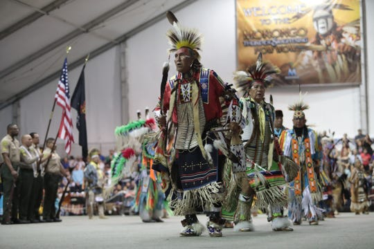 Greg Red Elk, 66, center, dances during the grand entry at the Morongo Thunder and Lighting Pow Wow in Cabazon on Saturday, September 28, 2019. Red Elk said he lives on the Pow Wow trail, meaning he travels yearly to many pow wows throughout the United States.