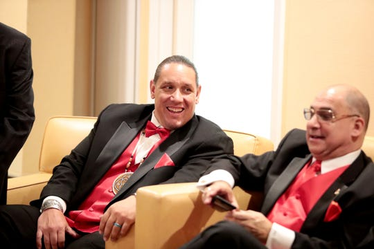Ronald McDonald House award honorees Jeff Grubbe, left, and Patrick Evans laugh prior to the gala at Agua Caliente Resort Casino Spa in Rancho Mirage, Calif., on Friday, September 27, 2019.