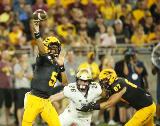 Arizona State University quarterback , Jayden Daniels, passes the ball during a game against Colorado University at Sun Devil Stadium on September 21, 2019.