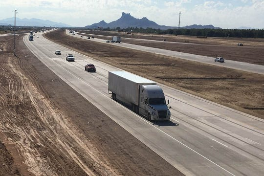 Interstate 10 is now three lanes in both directions between Casa Grande and Tucson, according to the Arizona Department of Transportation.