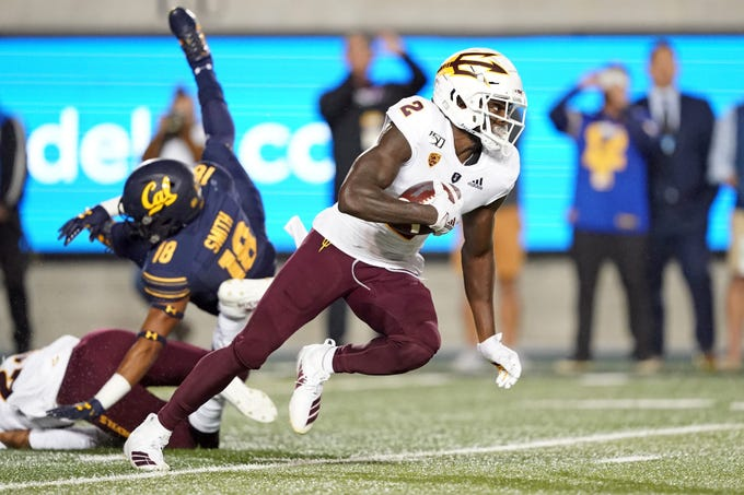 Sep 27, 2019; Berkeley, CA, USA; Arizona State Sun Devils wide receiver Brandon Aiyuk (2) returns a kick during the second quarter against the California Golden Bears at California Memorial Stadium. Mandatory Credit: Darren Yamashita-USA TODAY Sports