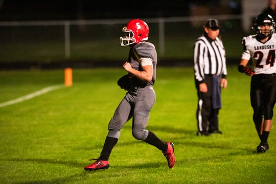 Marlette's Ian Scetter runs the football into the end zone for their first touchdown against Sandusky Friday, Sept. 27, 2019, at Marlette High School. The play was followed by an unsuccessful two-point conversion attempt.