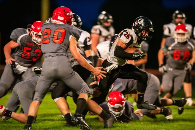 Sandusky running back Delorrin Wedge (26) runs with the football for a 38-yard touchdown with 3:33 left in the second quarter against Marlette Friday, Sept. 27, 2019, at Marlette High School.