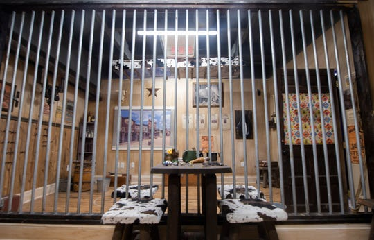 "Inside 'The Showdown' room at Escape Games Live in York on Friday, Sept. 27, 2019. The entertainment venue has four escape rooms including the cops and robbers themed, ""The Showdown"" room. Escape Games Live is located at 237 W. Market St."