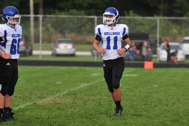 Centerville quarterback Ryan Dickenson had 154 total yards and two touchdowns in a 14-13 win over Northeastern on Friday, Sep. 27, 2019.