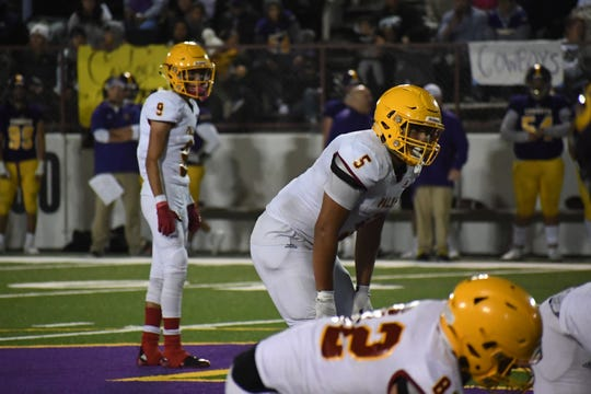 Palma linebacker Matthew Isais (5) and the rest of the second level of the Chieftains' defense will have a tough test this week in stopping Carmel running back Dakota Mornhinweg.
