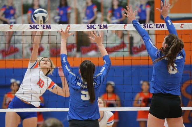 San Angelo Central High School's Nadia Fierro tries to make a kill during a volleyball match against Weatherford at Babe Didrikson Gym Friday, Sept. 27, 2019.