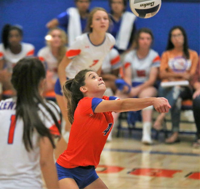 San Angelo Central High School's Caroline Dethloff makes a dig during a volleyball match against Weatherford at Babe Didrikson Gym Friday, Sept. 27, 2019.