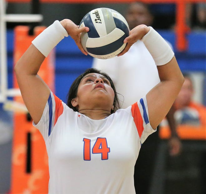 San Angelo Central High School's Veronica Guerrero sets the ball during a volleyball match against Weatherford at Babe Didrikson Gym Friday, Sept. 27, 2019.
