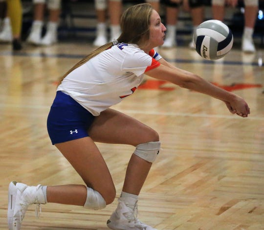 San Angelo Central High School's Steely Poss makes a dig during a volleyball match against Weatherford at Babe Didrikson Gym Friday, Sept. 27, 2019.