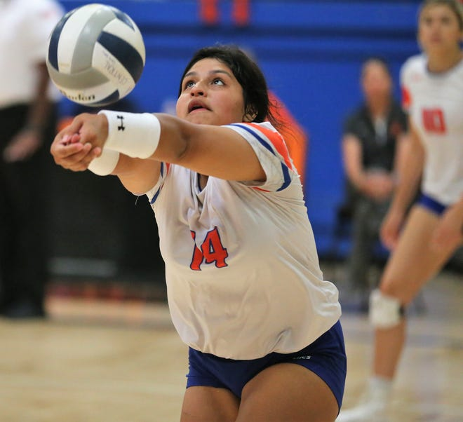 San Angelo Central High School's Veronica Guerrero digs the ball during a volleyball match against Weatherford at Babe Didrikson Gym Friday, Sept. 27, 2019. Weatherford won 25-22, 25-19, 25-23.