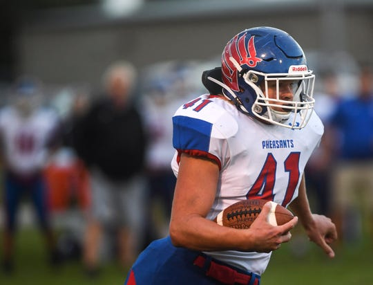 Parker linebacker Tanner Even (41) runs the ball during the game at Viborg-Hurley on Friday, Sept. 27, 2019.