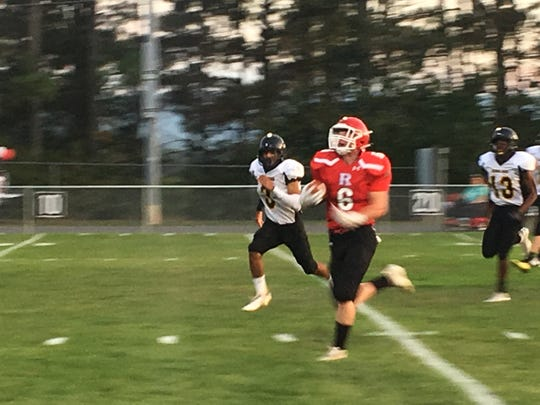 Braeson Fulton scores on a 34-yard run that gives Riverheads an early lead over Colonial Beach.