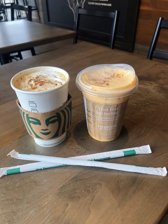 A pumpkin spice latte (left) and pumpkin cream cold brew (right) from Starbucks in St. George.