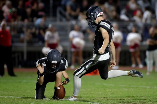 Maclay senior kicker Hunter Grant kicks a 26-yard field goal during the Marauders' 23-21 win over NFC on Friday, Sept. 27, 2019.