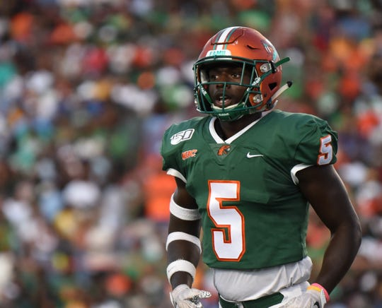 FAMU safety Markquese Bell had two interceptions in the 27-21 win over Southern on Saturday, Sept. 21, 2019.