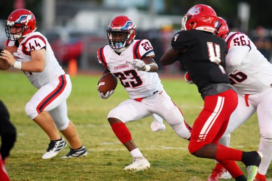 St. Lucie West Centennial running back Rodrick Huntley, seen during a game Sept. 27 against Vero Beach, was the MVP of the first Rising Freshman All-Star Game in 2018. The 2020 edition is set for Saturday.