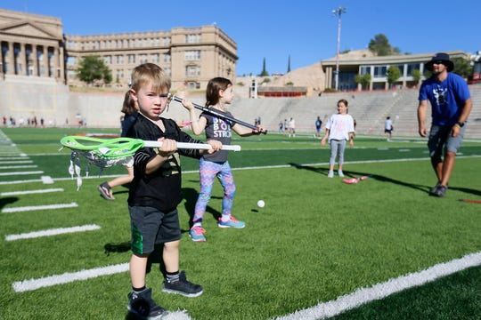 James Petteys participates in the US Lacrosse Sankofa Youth Clinic on Saturday, Sept. 28, 2019, at El Paso High School.