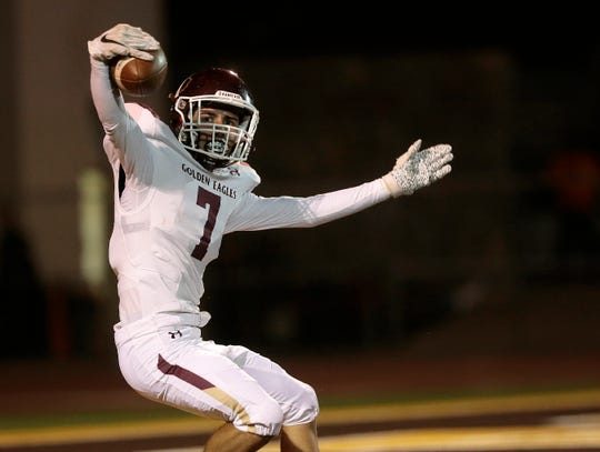Andress receiver Sam Gutierrez lobbies for the touchdown call after his touchdown reception Friday against Austin.