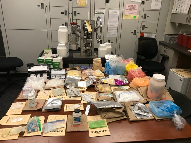 Ventura County deputies seized methamphetamine, MDMA, cocaine and an illegal pill pressing machine during a narcotics search in the San Fernando Valley on Thursday.