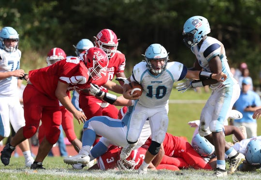 North Rockland defeats Suffern 18-10 in football action at North Rockland High School in Thiells on Saturday, September 28, 2019.