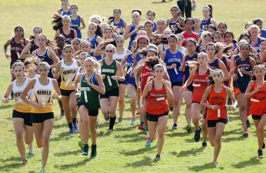 The start of the Girls Varsity II race at the annual Fred Gressler Run at White Plains High School Sept. 28, 2019.