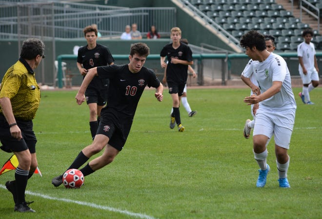 Nyack forward Spencer Whalen (10) had a pair of goals, including the game-winner, in a 4-3 comeback win over Ramapo on Sept. 28, 2019 at Palisades Credit Union Park.
