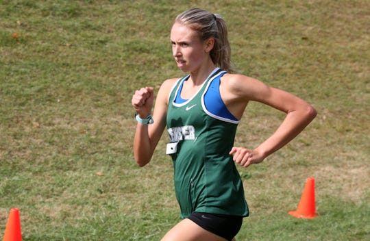 Brewster's Elsa Neubauer on her way to winning the Boys Varsity II race at the annual Fred Gressler Run at White Plains High School Sept. 28, 2019.