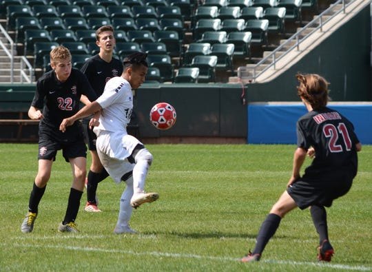 Ramapo's William Chub sets up to make a move against Nyack's Tommy Shalom. The Indians got two late goals to post a 4-3 win on Sept. 28, 2019 at Palisades Credit Union Park.