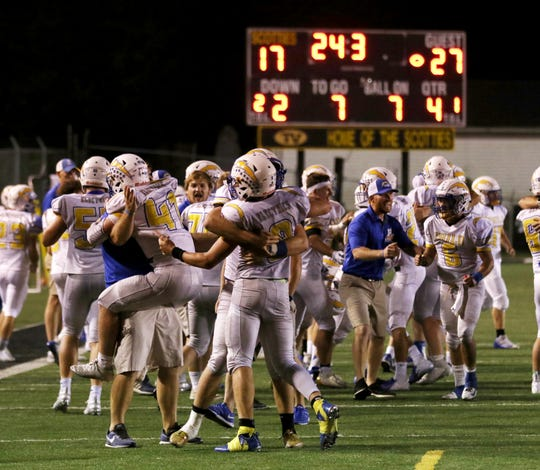 Philo celebrates after defeating Tri-Valley in Dresden on Friday. It was the first victory for the Electrics over Tri-Valley since 2004.