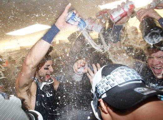 Rays field player Kevin Kiermaier celebrates.