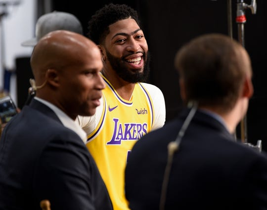 Anthony Davis is interviewed during Lakers media day.