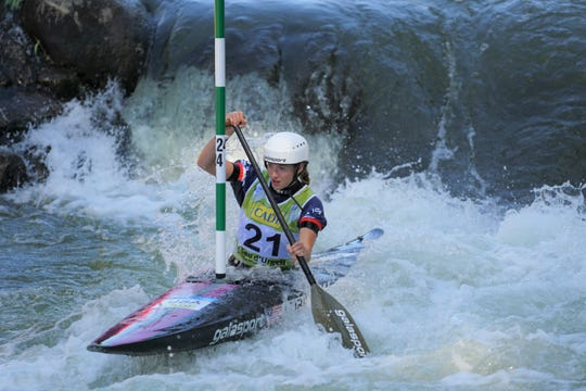 Evy Leibfarth, 15, of Bryson City, races in the ICF Slalom Canoe World Championships Sept. 19 in Spain. Leibfarth secured a spot for the U.S. to compete in slalom canoe at the 2020 Tokyo Olympics.