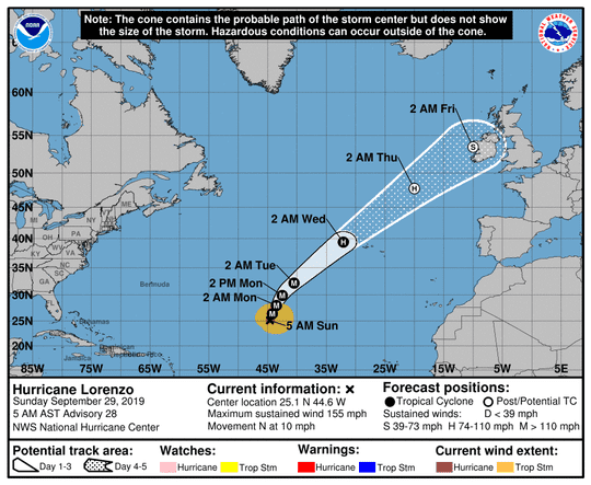 A graphic from the National Hurricane Center shows the position and forecast track of Hurricane Lorenzo as of 8 a.m. Sunday, Sept. 29.