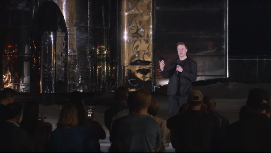 SpaceX CEO Elon Musk speaks during a Starship update in Boca Chica, Texas on Saturday, Sept. 28, 2019.