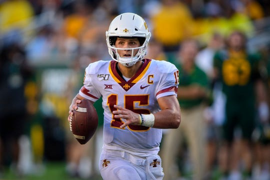 Sep 28, 2019; Waco, TX, USA; Iowa State Cyclones quarterback Brock Purdy (15) rolls out to pass against the Baylor Bears during the second half at McLane Stadium.