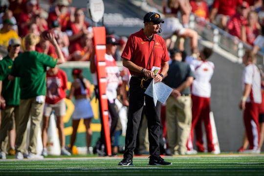 Sep 28, 2019; Waco, TX, USA; Iowa State Cyclones head coach Matt Campbell walks the sidelines during the second half of the game against the Baylor Bears at McLane Stadium.