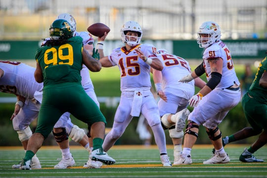 Sep 28, 2019; Waco, TX, USA; Iowa State Cyclones quarterback Brock Purdy (15) drops back to pass against the Baylor Bears during the second half at McLane Stadium.