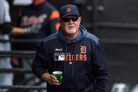 Tigers manager Ron Gardenhire walks through the dugout prior to a game against the Chicago White Sox on Sunday, Sept. 29, 2019, in Chicago.