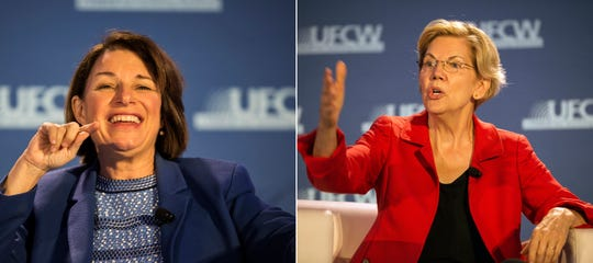Democratic presidential candidates Amy Klobuchar, left, and Elizabeth Warren speak in separate appearances Sunday at a forum sponsored by the United Food and Commercial Workers (UFCW) International Union at the UFCW Local 876 Union Hall in Madison Heights.