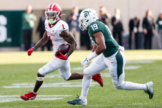 Michigan State cornerback Josh Butler defends Indiana receiver Whop Philyor during the second half at Spartan Stadium in East Lansing, Saturday, Sept. 28, 2019.